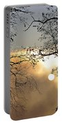 Trees On Misty Morning Portable Battery Charger