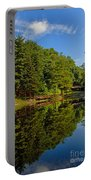 Trees Reflected On Mirrored Lake  Portable Battery Charger