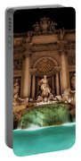 Trevi Fountain Illuminated At Nighttime Portable Battery Charger