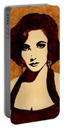 Tribute To Elizabeth Taylor Coffee Painting Portable Battery Charger