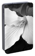 Trillium Flower In Black And White Portable Battery Charger