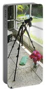 Tripod And Roses On Floor Portable Battery Charger