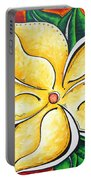 Tropical Abstract Pop Art Original Plumeria Flower Painting Pop Art Tropical Passion By Madart Portable Battery Charger