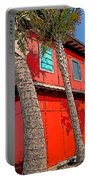 Tropical Orange House Palm Trees - Whoa Now Portable Battery Charger