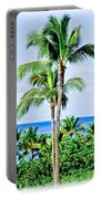 Tropical Palm Trees In Hawaii Portable Battery Charger