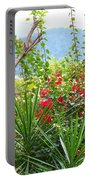 Tropical Red Against Cool Mountain Mists Portable Battery Charger