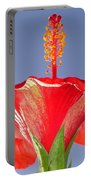 Tropical Red Hibiscus Flower Against Blue Sky  Portable Battery Charger