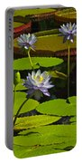 Tropical Water Lily Flowers And Pads Portable Battery Charger