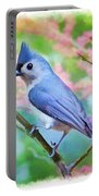 Tufted Titmouse With Spring Booms - Digital Paint II Portable Battery Charger