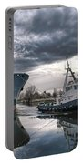Tugboat Pulling A Cargo Ship Portable Battery Charger