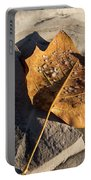 Tulip Tree Leaf - Frozen Raindrops In The Sunshine Portable Battery Charger