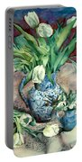 Tulips And Snowdrops Portable Battery Charger by Julia Rowntree