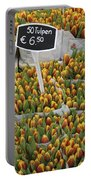 Tulips For Sale In Market, Close Up Portable Battery Charger