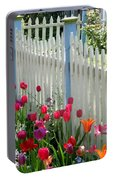 Tulips Garden Along White Picket Fence Portable Battery Charger
