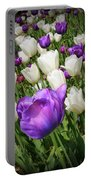 Tulips In Purple And White Portable Battery Charger