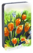 Tulips With Blue Grape Hyacinths Explosion Portable Battery Charger