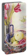 Tulips With Fruit In A Glass Bowl  Portable Battery Charger by Joan Thewsey
