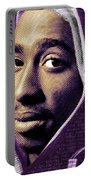 Tupac Shakur And Lyrics Portable Battery Charger by Tony Rubino