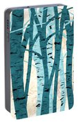 Turquoise Birch Trees Portable Battery Charger