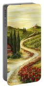 Tuscan Road With Poppies Portable Battery Charger by Marilyn Dunlap