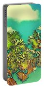 Twin Palms With Aqua Sky - Horizontal Portable Battery Charger