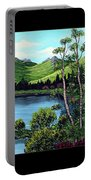 Twin Ponds And 23 Psalm On Black Horizontal Portable Battery Charger