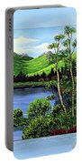 Twin Ponds And 23 Psalm On Blue Horizontal Portable Battery Charger
