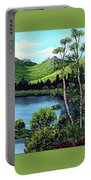 Twin Ponds And 23 Psalm On Green Horizontal Portable Battery Charger
