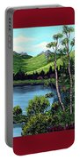 Twin Ponds And 23 Psalm On Red Horizontal  Portable Battery Charger