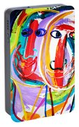 Two Abstract Faces Portable Battery Charger