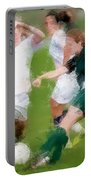 Two Against One Expressionist Soccer Battle  Portable Battery Charger