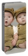 Two Babies In Matching Hat And Overalls Portable Battery Charger