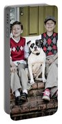 Two Boys And Their Dog Portable Battery Charger