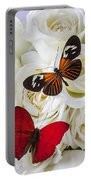 Two Butterflies On White Roses Portable Battery Charger