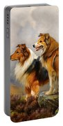 Two Collies Above A Lake Portable Battery Charger