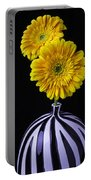 Two Daises In Striped Vase Portable Battery Charger