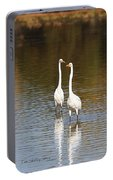 Two Egrets In The Pond Portable Battery Charger