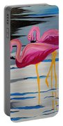 Two Flamingo's In Acrylic Portable Battery Charger