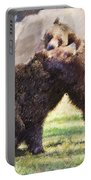 Two Grizzly Bears Ursus Arctos Play Fighting Portable Battery Charger