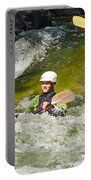 Two Kayakers On A Fast River Portable Battery Charger