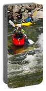 Two Kayakers On A Whitewater Course Portable Battery Charger