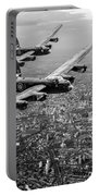 Two Lancasters Over London Black And White Version Portable Battery Charger