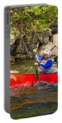 Two Men In A Tandem Canoe Portable Battery Charger