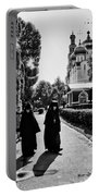 Two Nuns- Black And White - Novodevichy Convent - Russia Portable Battery Charger