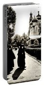 Two Nuns - Sepia - Novodevichy Convent - Russia Portable Battery Charger