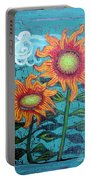 Two Orange Sunflowers Portable Battery Charger