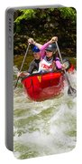 Two Paddlers In A Whitewater Canoe Making A Turn Portable Battery Charger