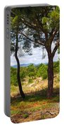 Two Pine Trees Portable Battery Charger by Carlos Caetano