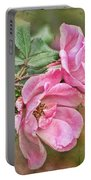 Two Pink Roses I  Blank Greeting Card Portable Battery Charger
