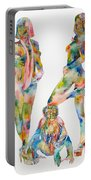 Two Psychedelic Girls With Chimp And Banana Portrait Portable Battery Charger